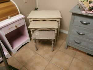 Chalk Decor Set of 3 Nesting Tables at KeepSakes Antiques