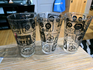 6 plastic glasses with vintage tapes on then