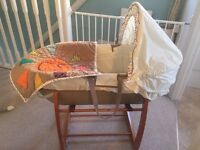 Moses basket and rocking stand. Timbuktales from mamas and papas