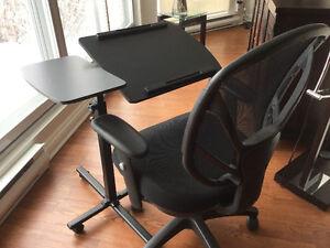 Table de travail mobile avec tablette inclinable