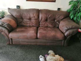 Good condition brown fabric sofa