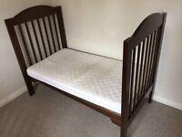 Wallnut wood cot/cot bed