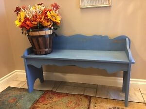 Blue painted and distressed Bench  Strathcona County Edmonton Area image 1