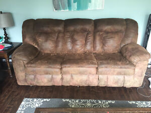 Microfiber couch Sofa bed and theatre style reclining love seat