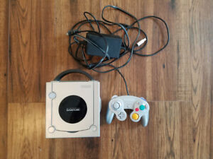 Gamecube console with controller, game hookups