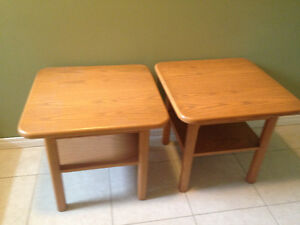 Solid Oak Living Room Tables 2 End Tables 1 Rectangular Table