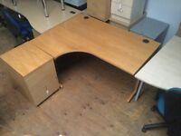 Left hand oak desk