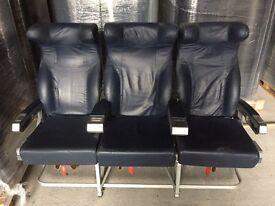 Plane seat leather in dark blue