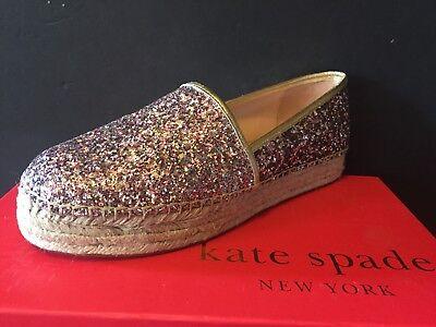 New KATE SPADE LINDS TOO ROSE Gold Metallic Glitter Espadrille Sz 9M