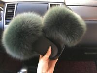 Women's Fox Fur Fluffy Sliders Slides 4 5 6