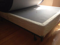 Box spring (full size) and metal bed frame (full/Queen).