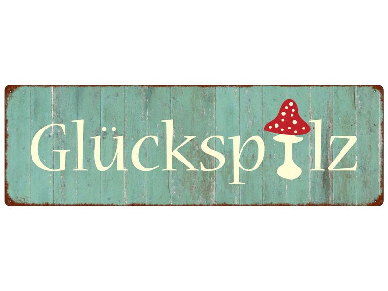 METALLSCHILD Blech Türschild GLÜCKSPILZ Geschenk Geburtstag Herbst Vintage