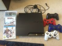 PS3 320gb black slim with 4 controllers