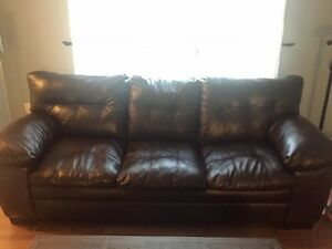 Mint condition-brown leather couch