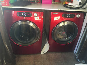 Red Samsung Washer and Dryer