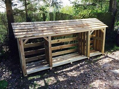 Wooden log store treated timber garden storage 10yr guarantee free delivery