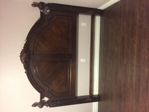 King Size Bedframe w/box spring and Matching Nightstand