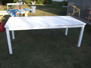 "White wood picnic table 39"" by 80"" by 29"" high only $100"