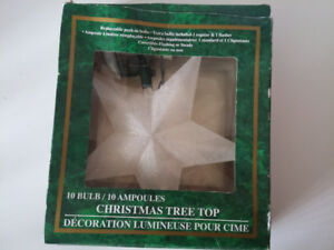 Frosted Light-up Christmas Tree Star Topper white