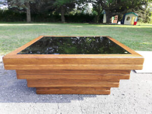 Square Wooden/ Mirrored Coffee Table