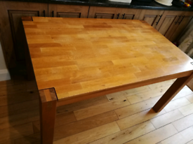 Solid oak extendable dining table set with chairs