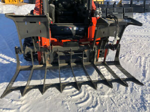 Tree and root grapple for skid steer