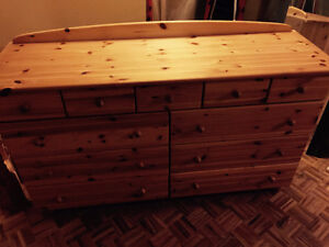knotty pine dresser - large, solid wood