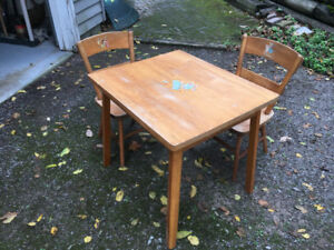 Children's Vintage Wooden Table and Chairs