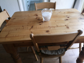 Solid wood farmhouse table and 4 chairs