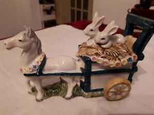 Schmid Horse carriage with rabbits - porcelain figurine