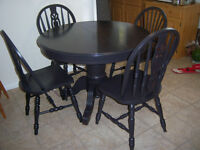Black Oak Pedestal Table with leaf and 4 chairs
