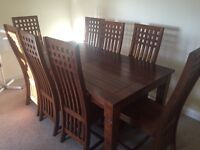 Marks & Spencers Surat sheesham solid wood dining table & 8 chairs.