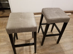 Two brand-new padded bar stools.