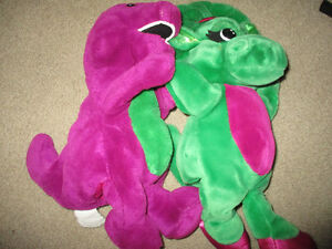 Barney and Baby Bop plush puppets large 14 inch plush