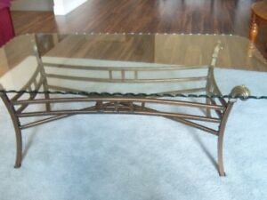 Glass and brass coffee table  - LIKE NEW