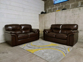 FREE DELIVERY 🚚 Designer Italian Leather DV brown 2+2 sofa suite, Cou