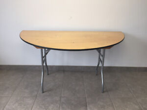 """Commercial Wooden  Half Round Folding Table 60"""" - Brand New"""