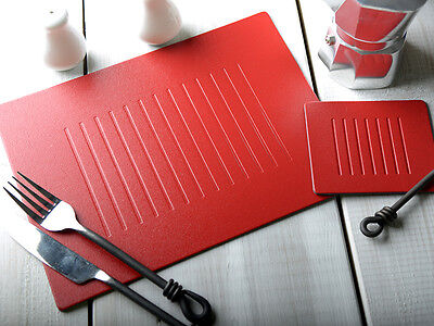 Set of 4 RED EMBOSSED Leatherboard PLACEMATS & 4 COASTERS (8 Piece Set)
