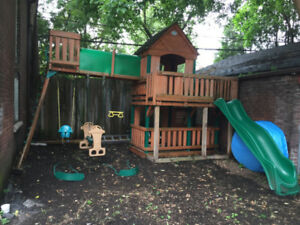 Rare Cedar Swing Set, Tree House and Play Centre