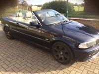 Bmw 320 ci convertible 2001 mettalic blue cream leather fsh long mot excellent value