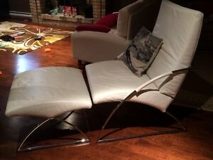Ligne Roset White Leather Chair and Ottoman