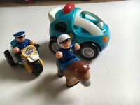 Police toy set, inc. Electonic car and two motorbike and mounted police toys