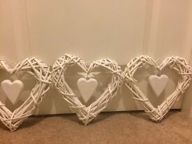Wedding decorations: 3 small wicker hearts