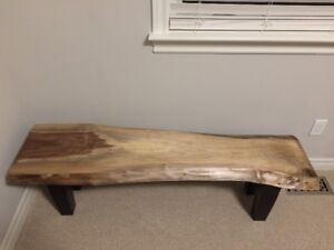 rustic live edge black walnut bench