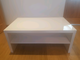 White High Gloss Coffee Table With One Shelf
