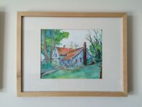Framed Original Watercolor of Old House