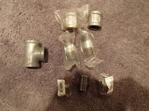 8 pcs of Galvanized Pipe Union Joints, Nipples, Tees. Mostly New
