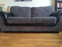 3 seat fabric/leather sofa grey/black