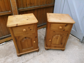 Pair of solid pine bedside tables cabinets