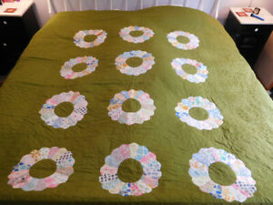 Vintage 1970's Large Hand Made COTTON QUILT Bedspread GREEN Gold